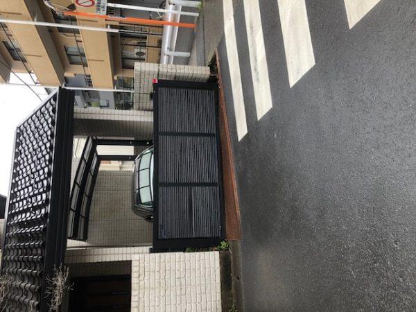 川崎市中原区 H様邸       門扉・オーバーゲート・縞鋼板取替